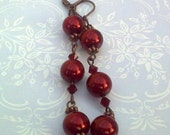 Red glass pearl and red crystal dangly earrings, bridesmaid earrings, bridesmaid gift earrings, prom earringswi