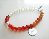 Fertility Tracking Bracelet - Peach Aventurine, Red Carnelian, Moonstone