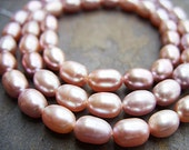 Light Pink (Kinda Mauve) Rice-Shaped Freshwater Pearls - B-4692