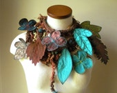 Long and Leafy Scarf-  Sienna with Teal, Sap Green, and Rust Berries