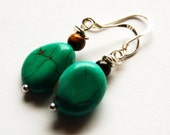Turquoise and Tiger's Eye Earrings on Sterling Silver Ear Wires