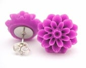 Purple Dahlia Post Earrings Surgical Steel