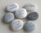 Message stone - custom text on beach pebble by sjEngraving