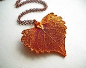 Dazzling Copper Real Cottonwood Leaf Necklace