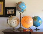 vintage Crams Imperial world globe on tall wood stand