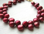Cranberry Red Zig Zag Pearl Bracelet