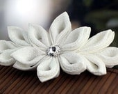 Snow Blossom - Kanzashi  Flower Barrette Hair Clip
