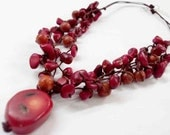 Red Coral Necklace With Waxed Cotton