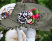 SALE : Garden Ruffles Hat No.2 - An army green military style womens hat embellished with fabric flowers and  vintage brooch sparkle