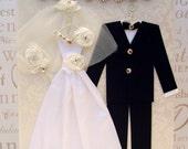 Princess Rose Personalised Wedding Dress Card / Bride and Groom / Handmade Greeting Card