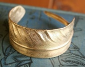 huge feather cuff - adjustable brass bracelet