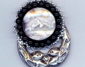 Stormy ll. - Picture Agate  Pendant in Sterling Silver Frame