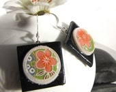 Sougen, Japanese Chiyogami Circle Earrings