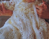 Gorgeous Vintage Christening Gown and Cap Digital Pattern to Crochet - PDF Email Delivery - PrettyPatternsPlease