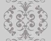 French Damask Flourish A Reusable Stencil - for fabric, wood, paper, canvas, walls - 5.5x8