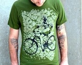 Pin Up with Gas Mask on Bike Print Tshirt - Olive American Apparel Shirt - FREE SHIPPING - Available in XS, S, M, L, XL, XXL
