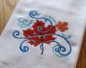 Maple Leaf in the Wind Embroidered Hand or Dish Towel