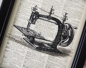 FREE Shipping Antique Sewing Machine Illustration on Vintage Dictionary Art Print - 8 x 10