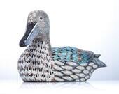 Aqua Blue Duck with Custom Crystal Inlay
