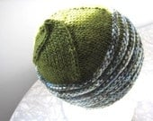moos green hand knit wool striped hat