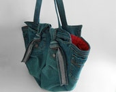 Recycled denim shoulder tote bag-big size