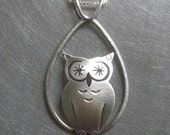 Owl Jewelry - Dew Drop Starry Eyed Tall Owl - Sterling Silver