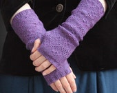 Sale- Merino lace knit fingerless gloves - violet purple