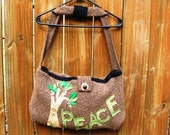 Large Wool felted Peace Tree Shoulder Bag