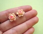 peachy pink rose earring studs . vintage