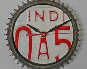 License Plate Gear CLOCK- Vintage Indiana