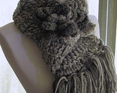November Rain Scarf with Pom Pom Flower Brooch