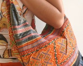 Recycled Embridered Tribal Cotton SLING BAG - HOBO BAG - SLOUCH PURSE