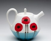 Poppy  Teapot with Turquoise