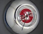 Art Deco Hubcap Wall Clock - Retro Car Clock