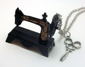Sewing Machine and Scissors Necklace - FREE Shipping