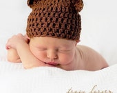 Newborn-3 Months, Infant Baby Cotton Crochet Beanie, Chocolate Brown, Baby Bear Hat, Photographer Prop, Newborn Photography Prop