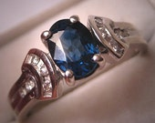 Vintage Sapphire Diamond Wedding Ring Retro Deco Inspired White Gold