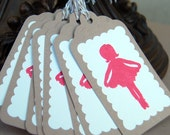 Little Miss Curtsey in Pink - Gift Tags