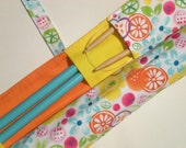 knitting needle case organizer -  straight needles - double pointed knitting needles  - paint brushes - 20 pockets - fruit frenzy