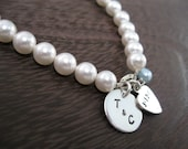 Personalized Hand Stamped Sterling Silver Bracelet  Perfectly Pearl  Bridal