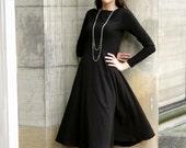 Elegant Cowl Dress: black dress shown, sizes xs, s, m,l, xl, and plus sizes 1x, 2x, 3x