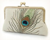 sage peacock feathers - luxury silk and linen clutch bag