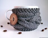 Grey Mug Cozy, Gray Cup Sleeve, Coffee Tea, Twilight Silver Dark Fall Ash, Knitted Cabled Steampunk