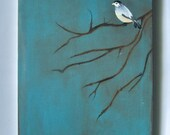 Evening Bird 11x14 original painting on canvas acrylic blue brown