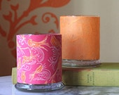 Candle holders- Large glass votive holders wrapped with pink and orange bird print, set of two in gift box