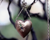 Sutured heart necklace natural bronze vintage chain
