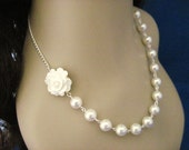 White Rose Cabochon and Pearl Bridal Necklace