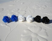 20% off Sale Rose Flower Post Earrings Trio Blue White Black Flowers  Free Shipping