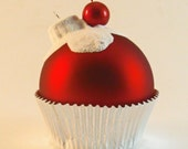 Large Red Glass Cupcake Ornament with Flocked White Frosting and a Cherry on top
