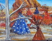 Teepees in the Snow Original Acrylic painting by Kate Ladd